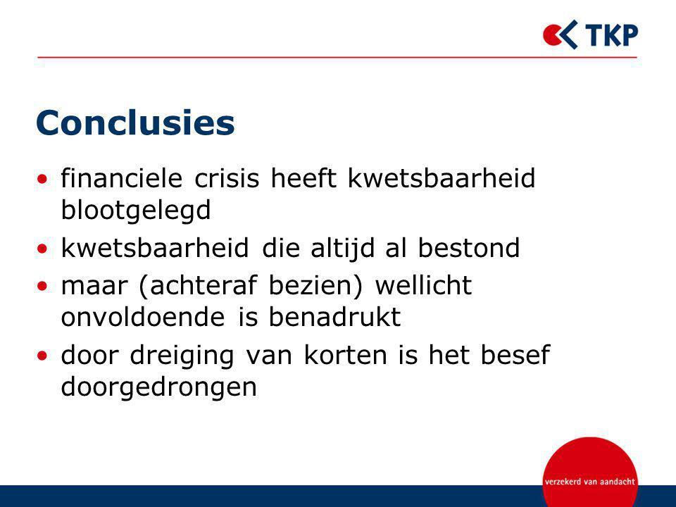 Conclusies financiele crisis heeft kwetsbaarheid blootgelegd kwetsbaarheid die altijd al bestond maar (achteraf bezien) wellicht onvoldoende is benadrukt door dreiging van korten is het besef doorgedrongen