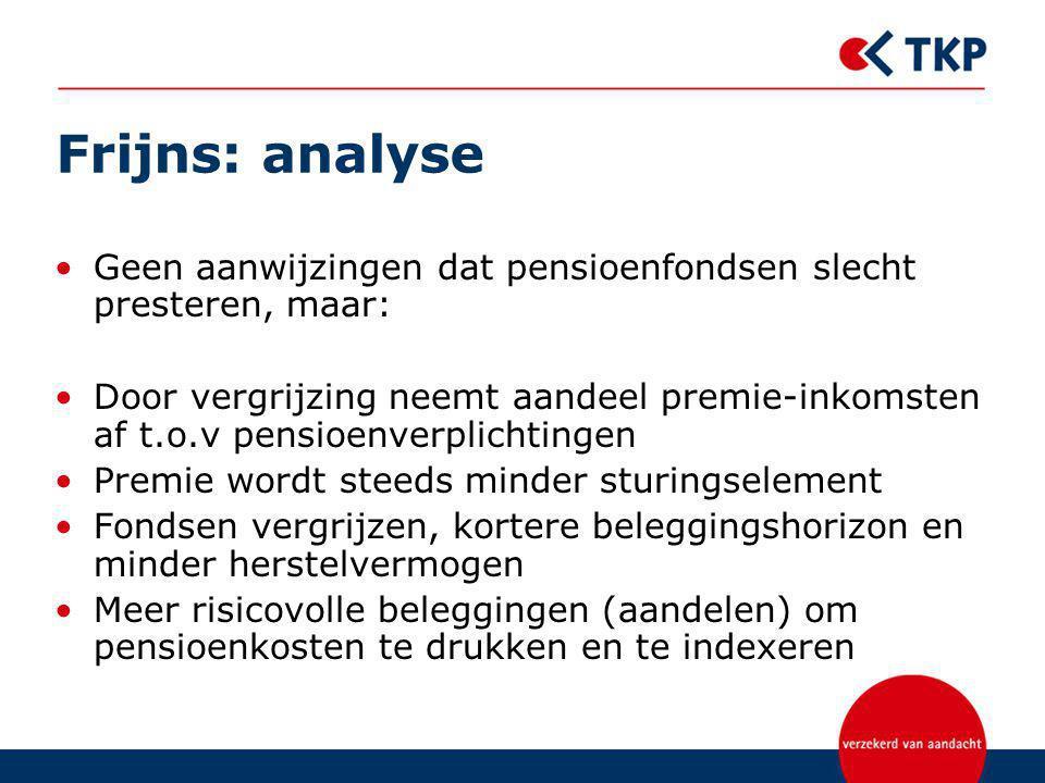 Frijns: analyse Geen aanwijzingen dat pensioenfondsen slecht presteren, maar: Door vergrijzing neemt aandeel premie-inkomsten af t.o.v pensioenverplic