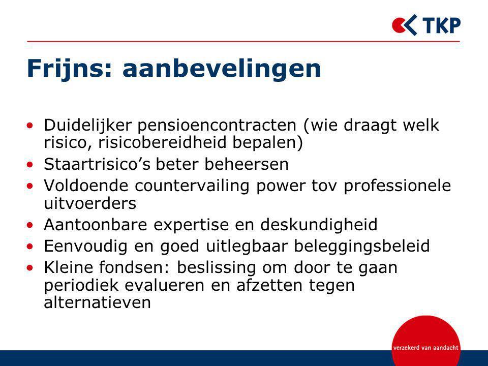 Frijns: aanbevelingen Duidelijker pensioencontracten (wie draagt welk risico, risicobereidheid bepalen) Staartrisico's beter beheersen Voldoende count