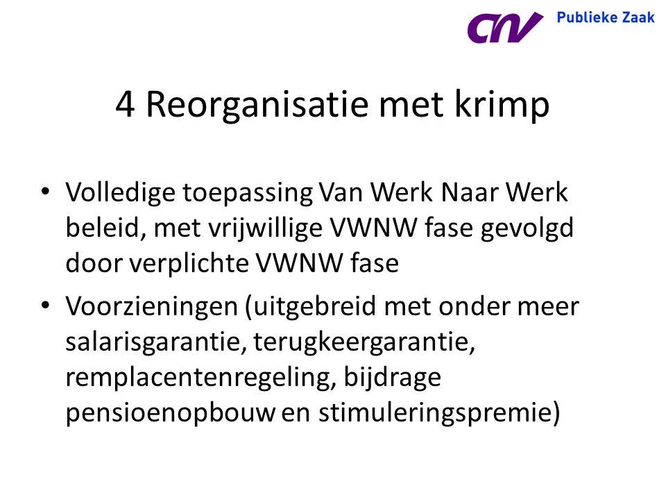 4 Reorganisatie met krimp Volledige toepassing Van Werk Naar Werk beleid, met vrijwillige VWNW fase gevolgd door verplichte VWNW fase Voorzieningen (u