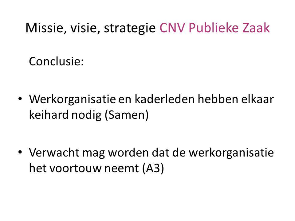 Missie, visie, strategie CNV Publieke Zaak Conclusie: Werkorganisatie en kaderleden hebben elkaar keihard nodig (Samen) Verwacht mag worden dat de wer