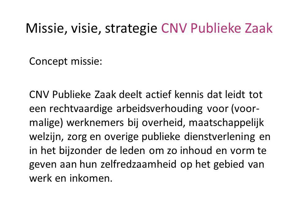 Missie, visie, strategie CNV Publieke Zaak Concept missie: CNV Publieke Zaak deelt actief kennis dat leidt tot een rechtvaardige arbeidsverhouding voo