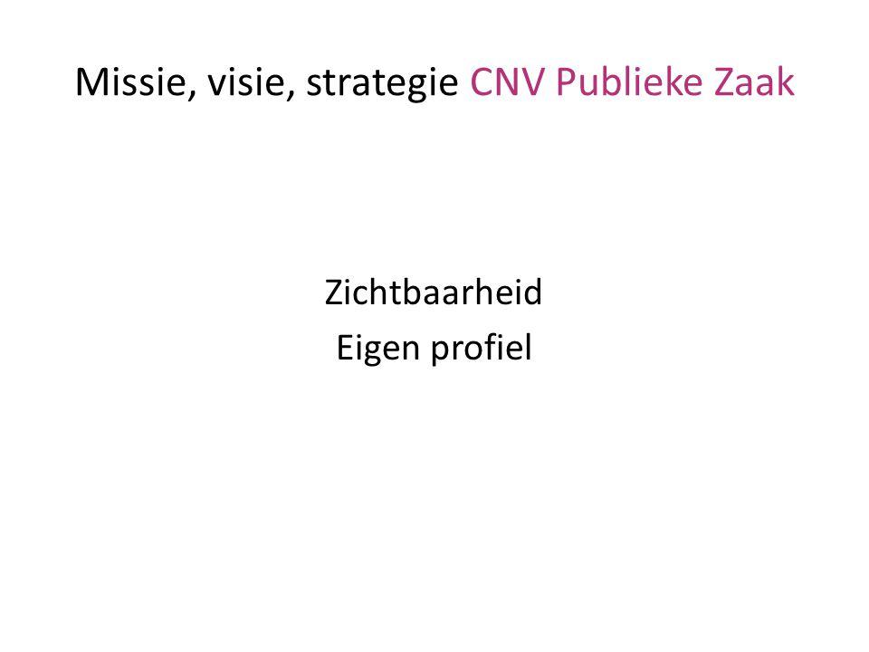 Missie, visie, strategie CNV Publieke Zaak Zichtbaarheid Eigen profiel