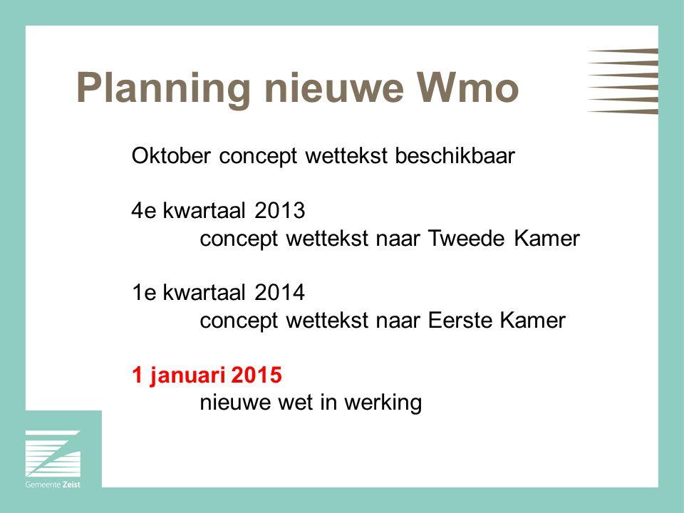 Planning nieuwe Wmo Oktober concept wettekst beschikbaar 4e kwartaal 2013 concept wettekst naar Tweede Kamer 1e kwartaal 2014 concept wettekst naar Eerste Kamer 1 januari 2015 nieuwe wet in werking