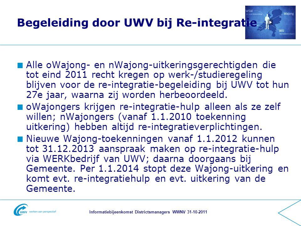 Informatiebijeenkomst Districtsmanagers WWNV 31-10-2011 Begeleiding door UWV bij Re-integratie Alle oWajong- en nWajong-uitkeringsgerechtigden die tot eind 2011 recht kregen op werk-/studieregeling blijven voor de re-integratie-begeleiding bij UWV tot hun 27e jaar, waarna zij worden herbeoordeeld.