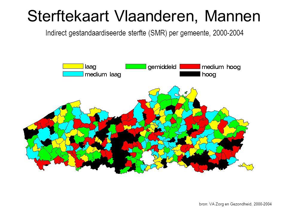 Sterftekaart Vlaanderen, Mannen Indirect gestandaardiseerde sterfte (SMR) per gemeente, 2000-2004 bron: VA Zorg en Gezondheid, 2000-2004