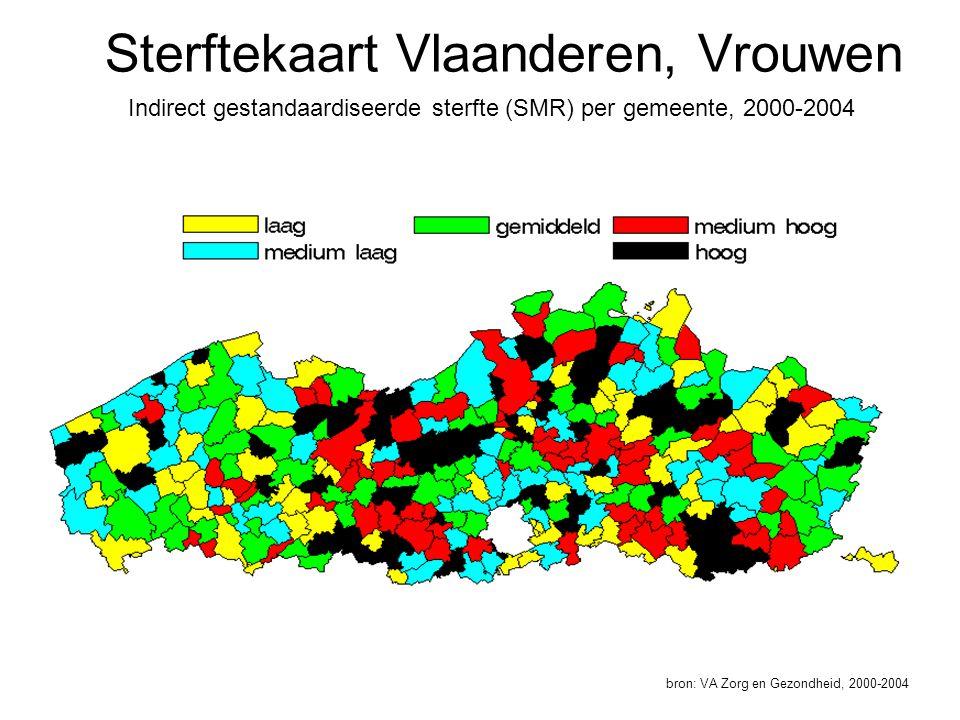 Sterftekaart Vlaanderen, Vrouwen Indirect gestandaardiseerde sterfte (SMR) per gemeente, 2000-2004 bron: VA Zorg en Gezondheid, 2000-2004