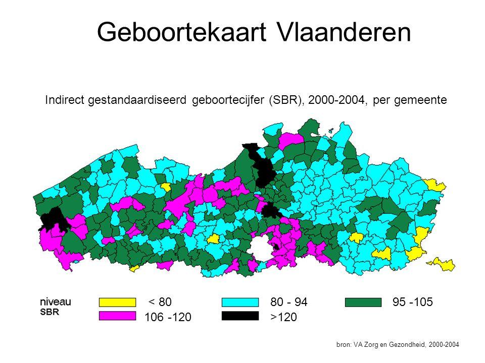 Geboortekaart Vlaanderen bron: VA Zorg en Gezondheid, 2000-2004 Indirect gestandaardiseerd geboortecijfer (SBR), 2000-2004, per gemeente < 80 106 -120