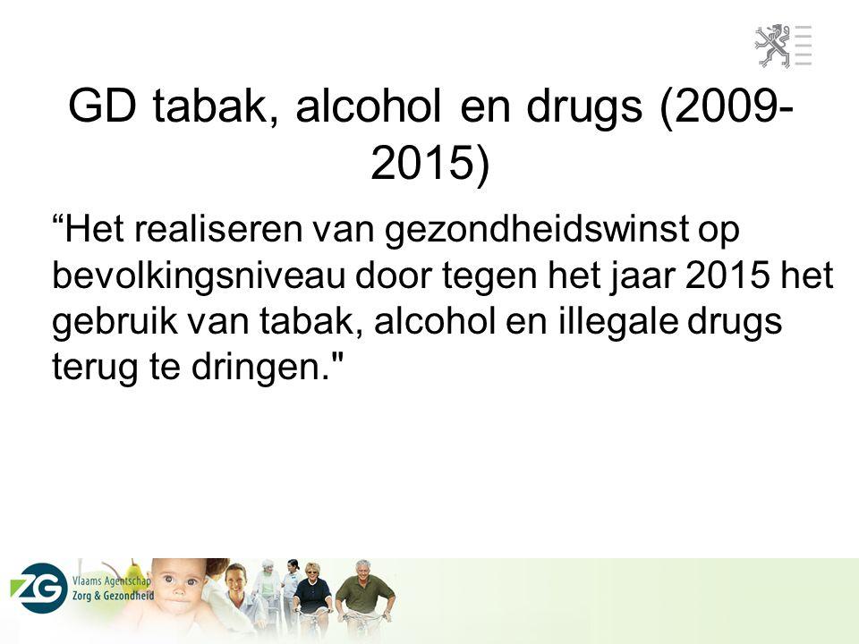 """GD tabak, alcohol en drugs (2009- 2015) """"Het realiseren van gezondheidswinst op bevolkingsniveau door tegen het jaar 2015 het gebruik van tabak, alcoh"""