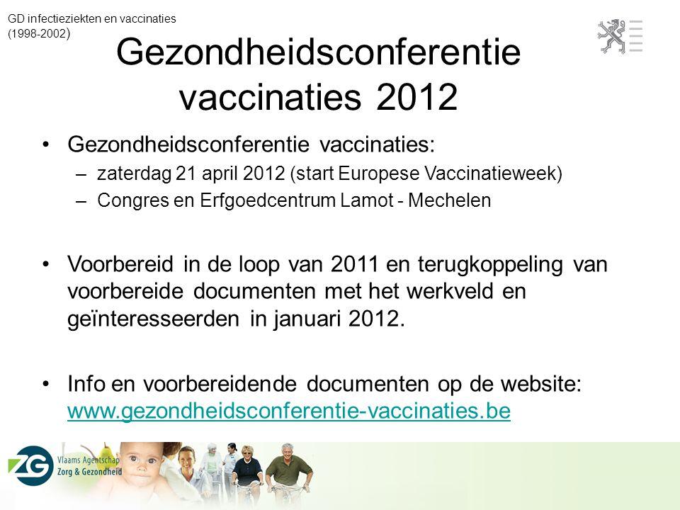 GD infectieziekten en vaccinaties (1998-2002 ) Gezondheidsconferentie vaccinaties 2012 Gezondheidsconferentie vaccinaties: –zaterdag 21 april 2012 (st