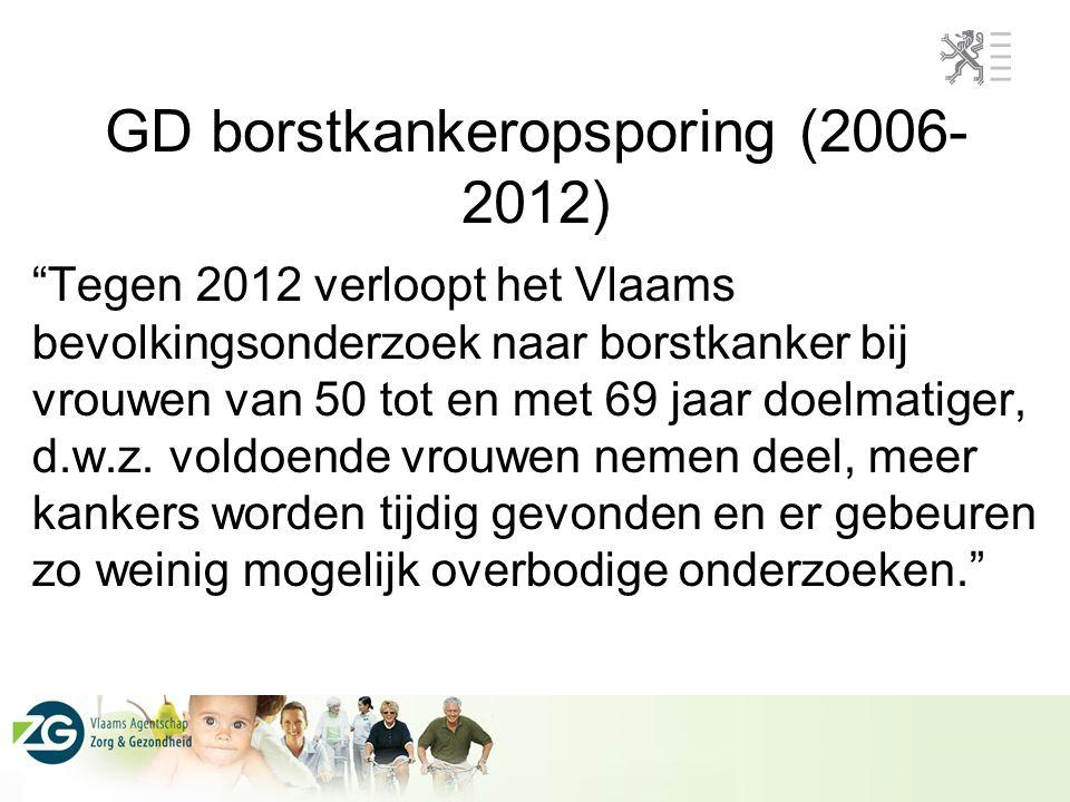 """GD borstkankeropsporing (2006- 2012) """"Tegen 2012 verloopt het Vlaams bevolkingsonderzoek naar borstkanker bij vrouwen van 50 tot en met 69 jaar doelma"""