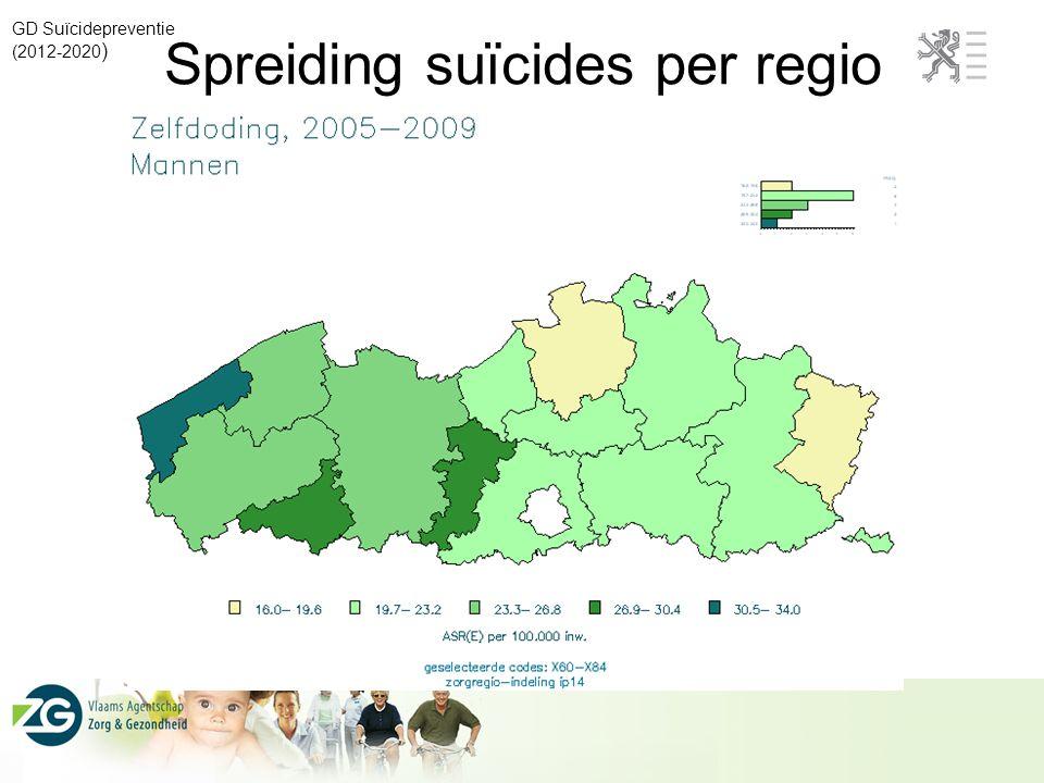 Spreiding suïcides per regio GD Suïcidepreventie (2012-2020 )