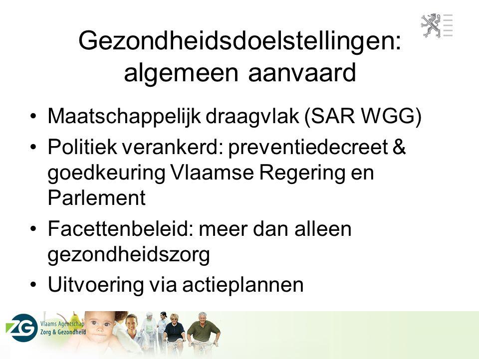 Maatschappelijk draagvlak (SAR WGG) Politiek verankerd: preventiedecreet & goedkeuring Vlaamse Regering en Parlement Facettenbeleid: meer dan alleen g