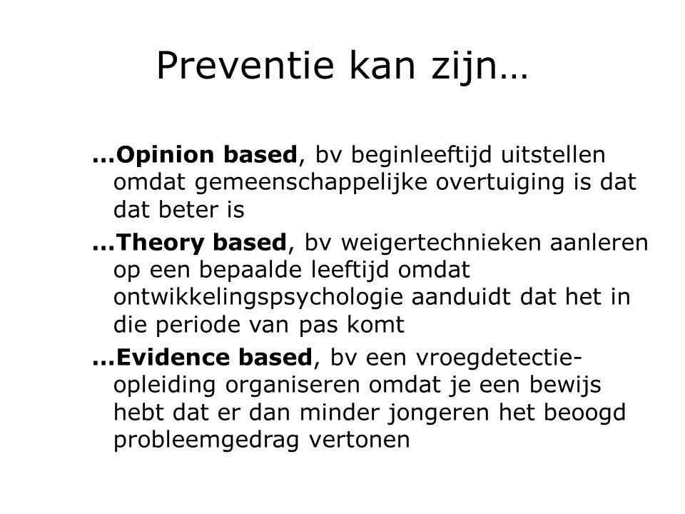 Preventie kan zijn… …Opinion based, bv beginleeftijd uitstellen omdat gemeenschappelijke overtuiging is dat dat beter is …Theory based, bv weigertechn