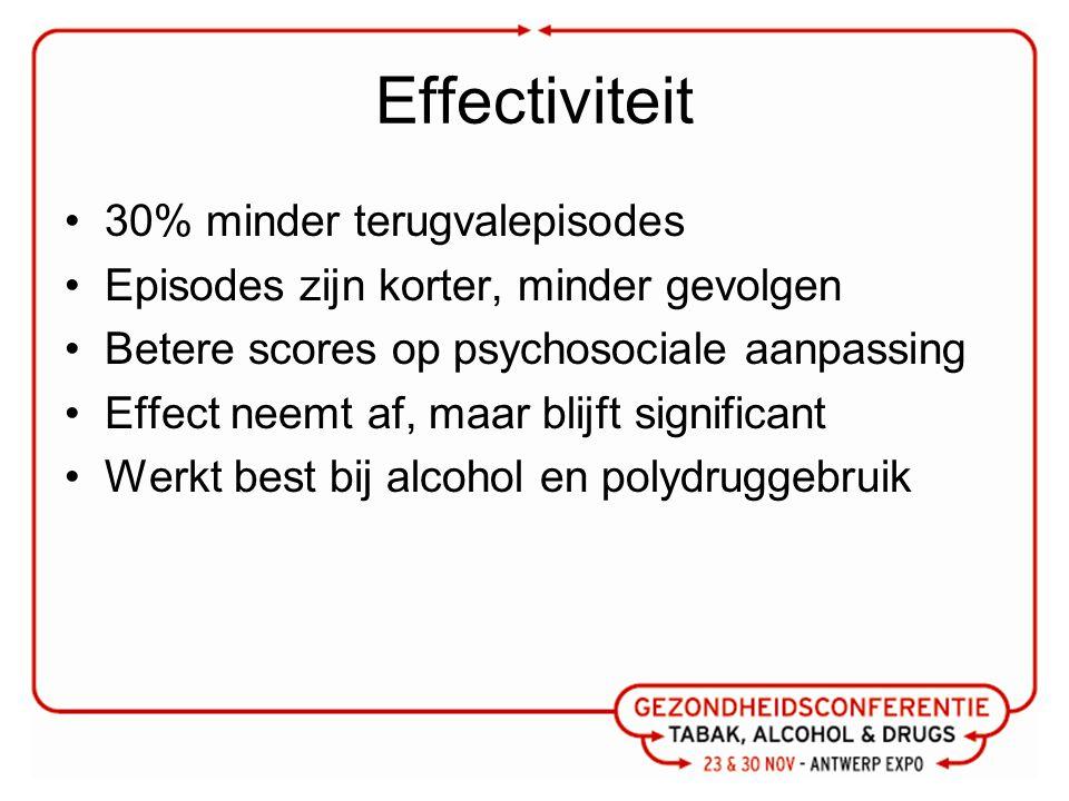 Effectiviteit 30% minder terugvalepisodes Episodes zijn korter, minder gevolgen Betere scores op psychosociale aanpassing Effect neemt af, maar blijft