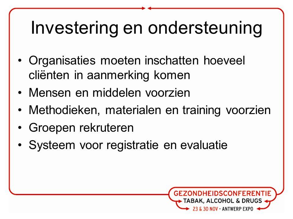 Investering en ondersteuning Organisaties moeten inschatten hoeveel cliënten in aanmerking komen Mensen en middelen voorzien Methodieken, materialen e