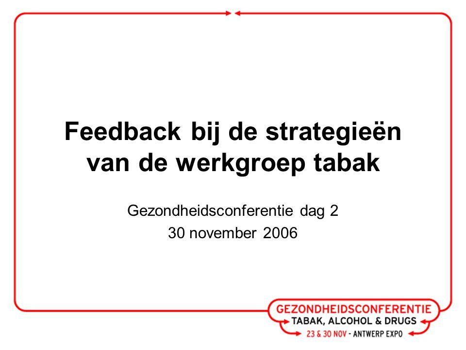 Feedback bij de strategieën van de werkgroep tabak Gezondheidsconferentie dag 2 30 november 2006