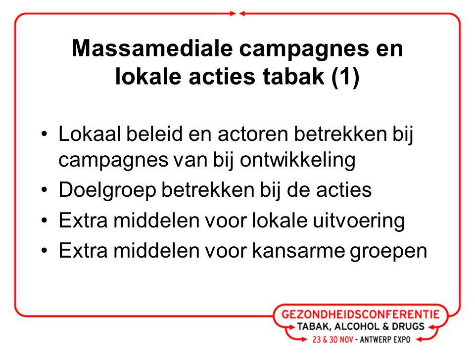Massamediale campagnes en lokale acties tabak (1) Lokaal beleid en actoren betrekken bij campagnes van bij ontwikkeling Doelgroep betrekken bij de acties Extra middelen voor lokale uitvoering Extra middelen voor kansarme groepen