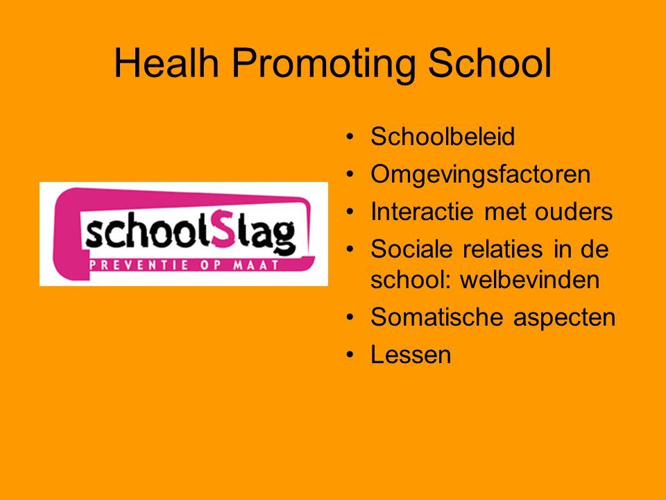 Healh Promoting School Schoolbeleid Omgevingsfactoren Interactie met ouders Sociale relaties in de school: welbevinden Somatische aspecten Lessen