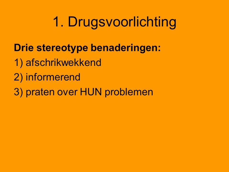 1. Drugsvoorlichting Drie stereotype benaderingen: 1) afschrikwekkend 2) informerend 3) praten over HUN problemen
