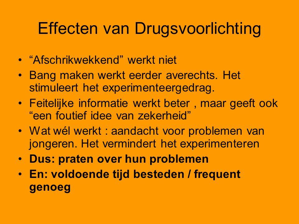 Effecten van Drugsvoorlichting Afschrikwekkend werkt niet Bang maken werkt eerder averechts.