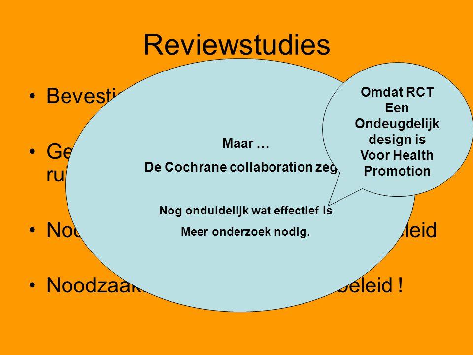 Reviewstudies Bevestigen deze resultaten Gevolg: informatieprogramma's met veel ruimte voor discussie en overleg Noodzakelijk: relatie met alle schoolbeleid Noodzaak: Schoolgezondheidsbeleid .