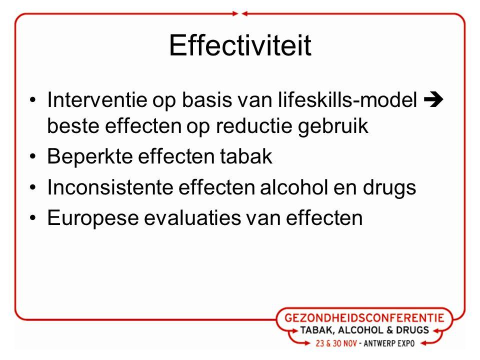 Effectiviteit Interventie op basis van lifeskills-model  beste effecten op reductie gebruik Beperkte effecten tabak Inconsistente effecten alcohol en drugs Europese evaluaties van effecten