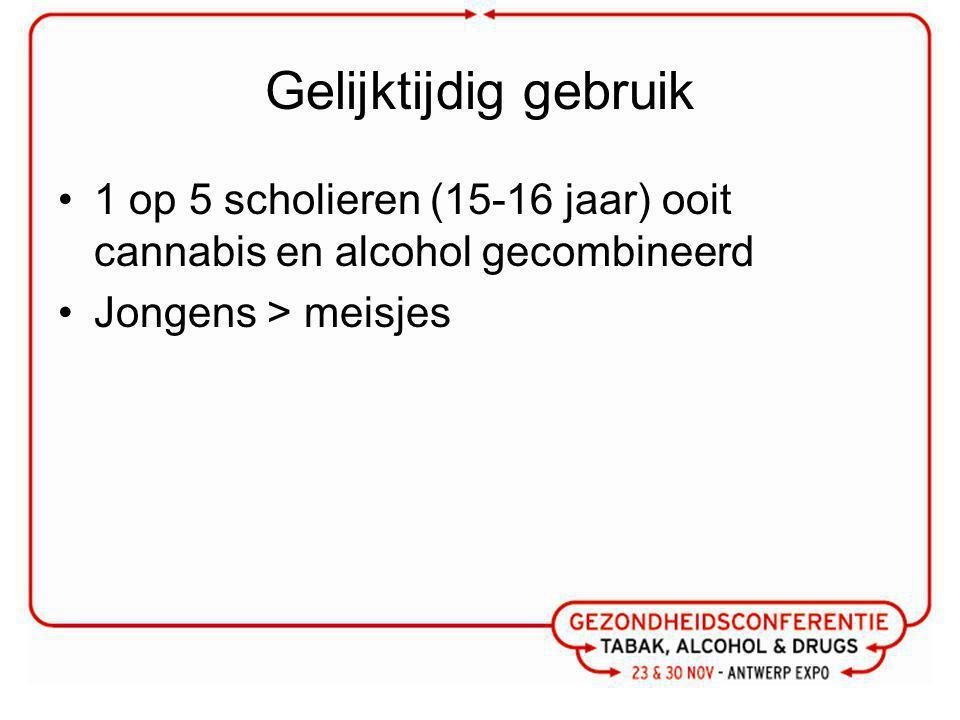 Gelijktijdig gebruik 1 op 5 scholieren (15-16 jaar) ooit cannabis en alcohol gecombineerd Jongens > meisjes