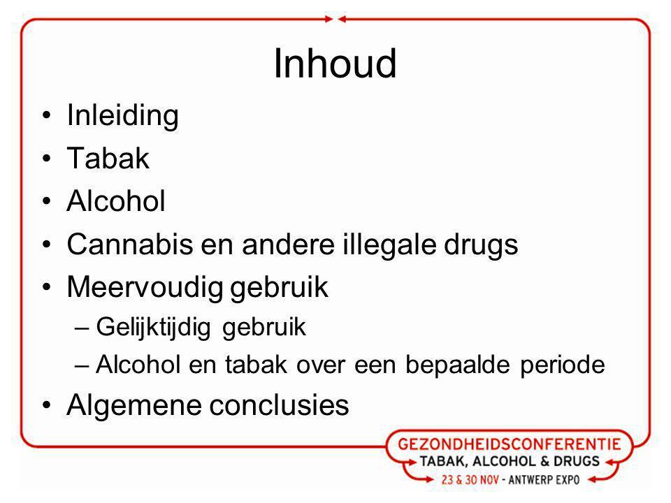 Inhoud Inleiding Tabak Alcohol Cannabis en andere illegale drugs Meervoudig gebruik –Gelijktijdig gebruik –Alcohol en tabak over een bepaalde periode Algemene conclusies
