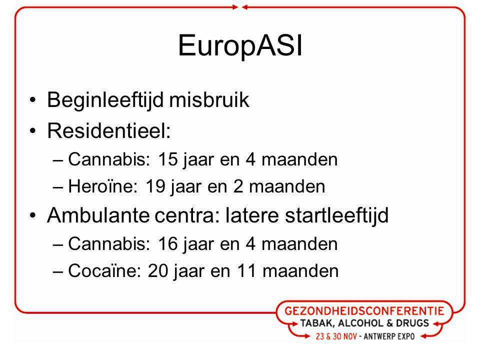 EuropASI Beginleeftijd misbruik Residentieel: –Cannabis: 15 jaar en 4 maanden –Heroïne: 19 jaar en 2 maanden Ambulante centra: latere startleeftijd –Cannabis: 16 jaar en 4 maanden –Cocaïne: 20 jaar en 11 maanden