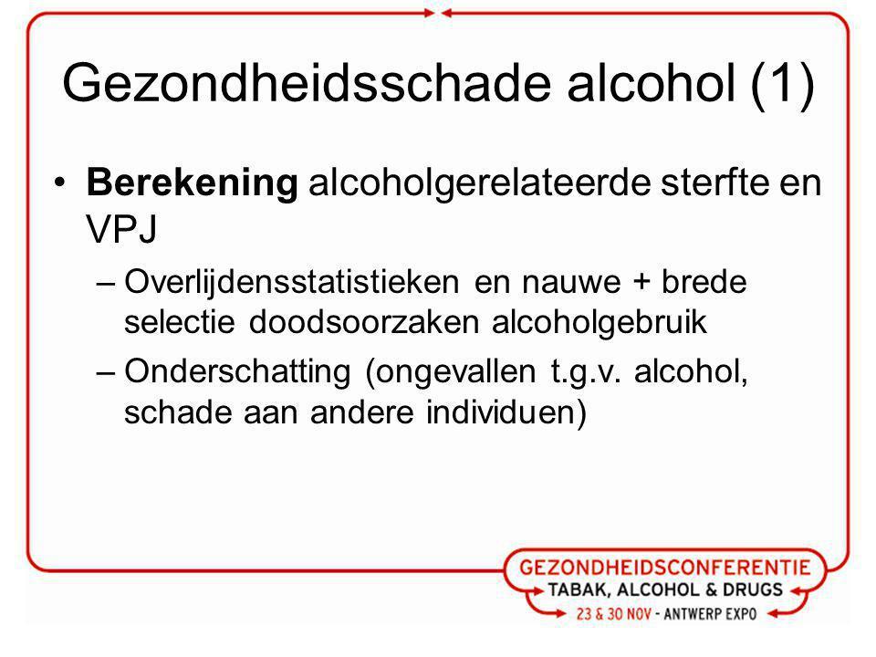 Gezondheidsschade alcohol (1) Berekening alcoholgerelateerde sterfte en VPJ –Overlijdensstatistieken en nauwe + brede selectie doodsoorzaken alcoholgebruik –Onderschatting (ongevallen t.g.v.