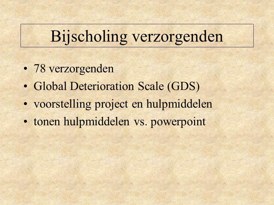 Bijscholing verzorgenden 78 verzorgenden Global Deterioration Scale (GDS) voorstelling project en hulpmiddelen tonen hulpmiddelen vs.