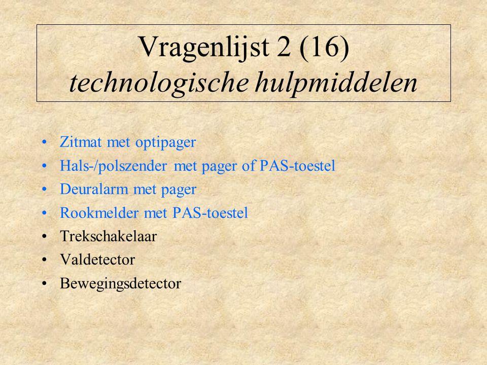 Vragenlijst 2 (16) technologische hulpmiddelen Zitmat met optipager Hals-/polszender met pager of PAS-toestel Deuralarm met pager Rookmelder met PAS-toestel Trekschakelaar Valdetector Bewegingsdetector