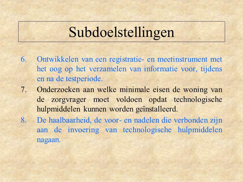 Subdoelstellingen 6.Ontwikkelen van een registratie- en meetinstrument met het oog op het verzamelen van informatie voor, tijdens en na de testperiode.