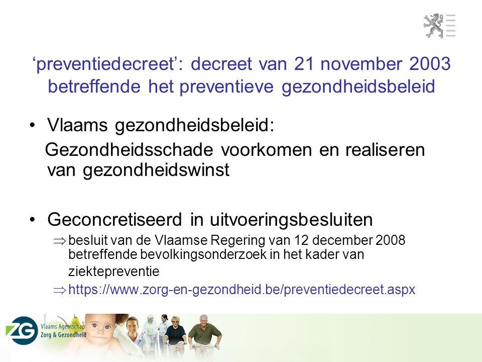 'preventiedecreet': decreet van 21 november 2003 betreffende het preventieve gezondheidsbeleid Vlaams gezondheidsbeleid: Gezondheidsschade voorkomen e