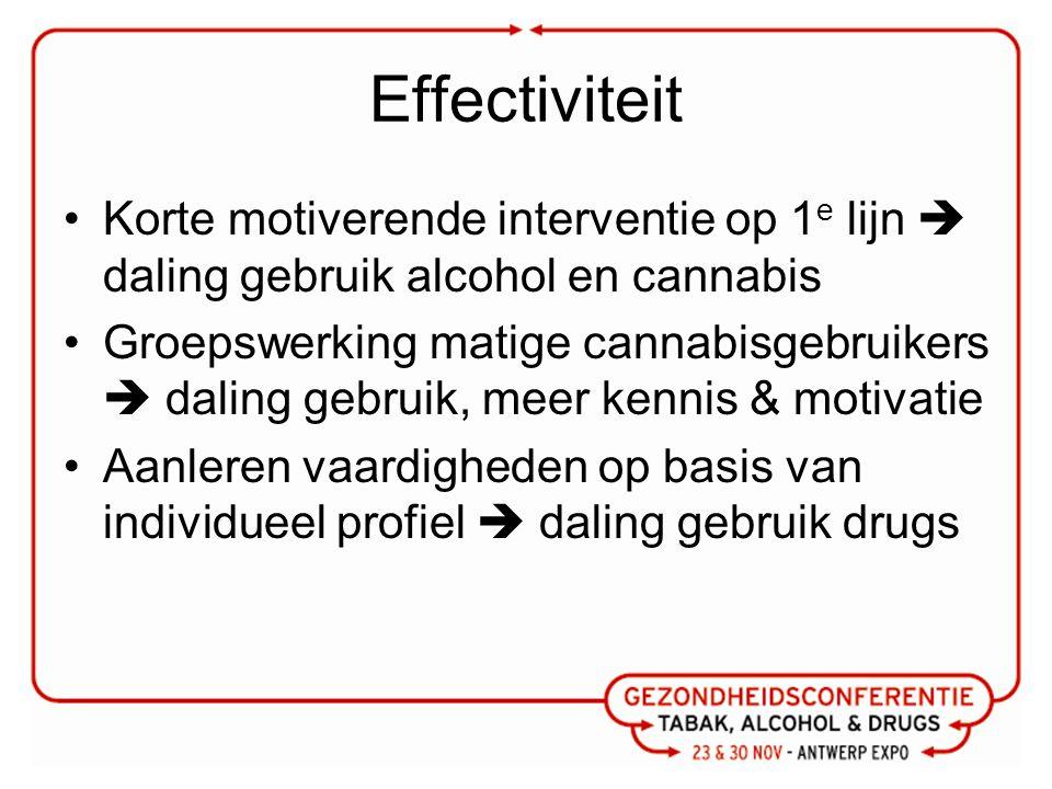 Effectiviteit Korte motiverende interventie op 1 e lijn  daling gebruik alcohol en cannabis Groepswerking matige cannabisgebruikers  daling gebruik, meer kennis & motivatie Aanleren vaardigheden op basis van individueel profiel  daling gebruik drugs
