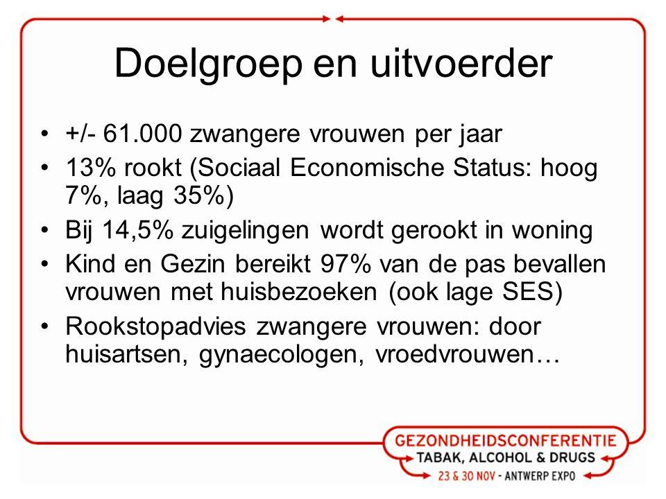 Doelgroep en uitvoerder +/- 61.000 zwangere vrouwen per jaar 13% rookt (Sociaal Economische Status: hoog 7%, laag 35%) Bij 14,5% zuigelingen wordt ger