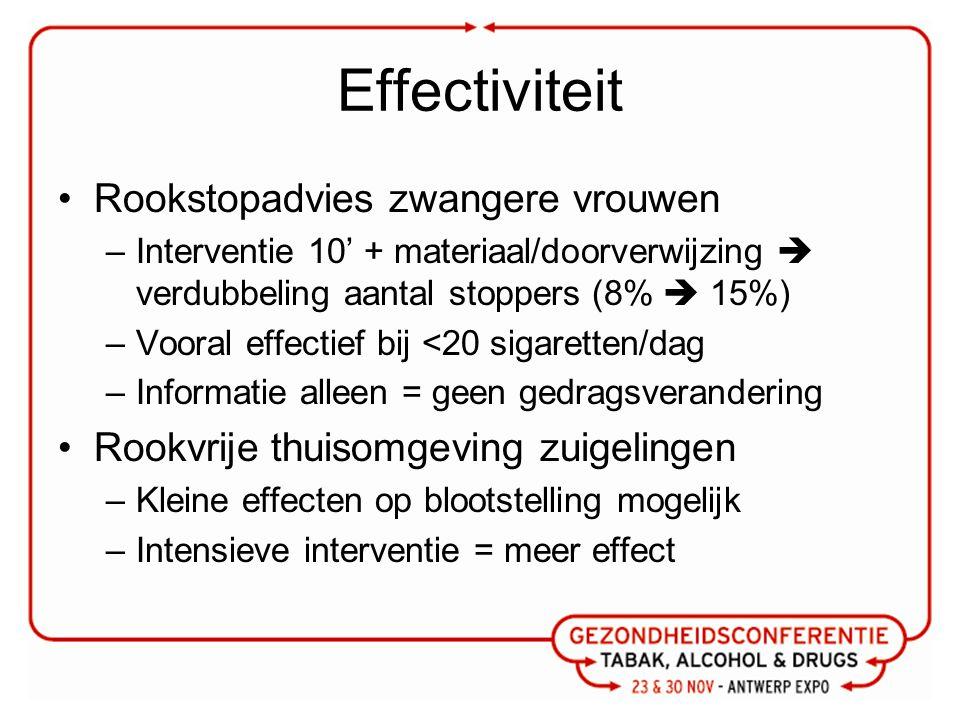 Effectiviteit Rookstopadvies zwangere vrouwen –Interventie 10' + materiaal/doorverwijzing  verdubbeling aantal stoppers (8%  15%) –Vooral effectief