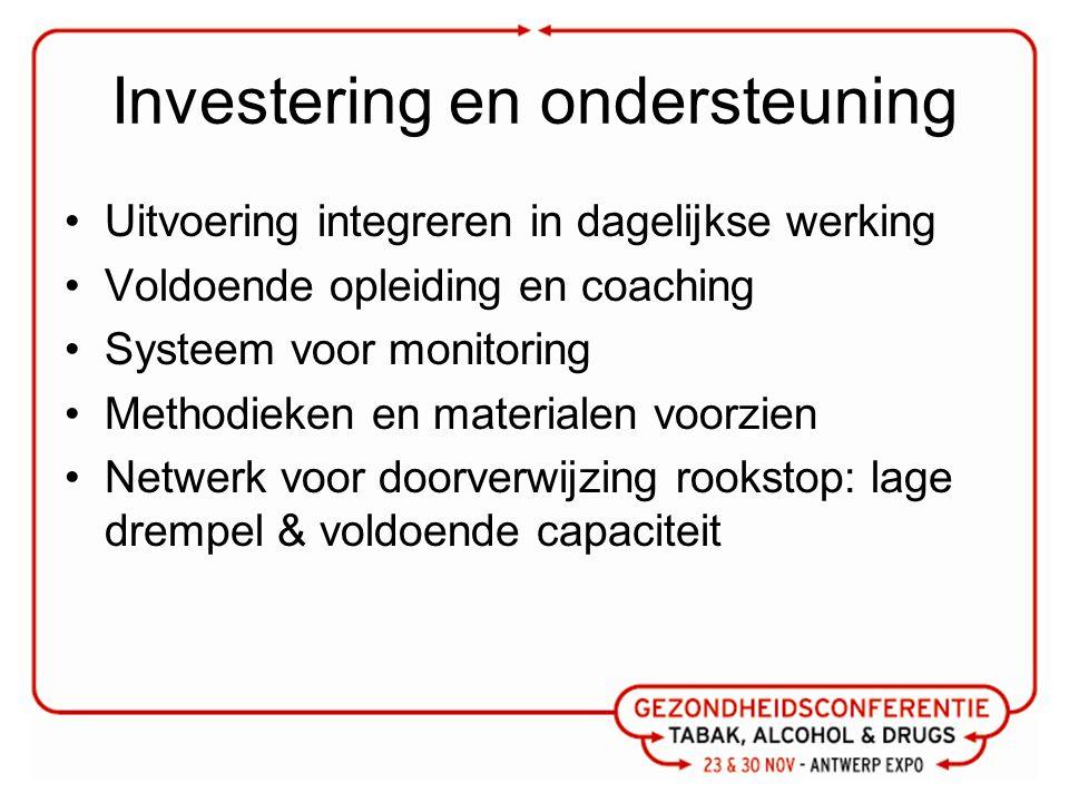 Investering en ondersteuning Uitvoering integreren in dagelijkse werking Voldoende opleiding en coaching Systeem voor monitoring Methodieken en materi