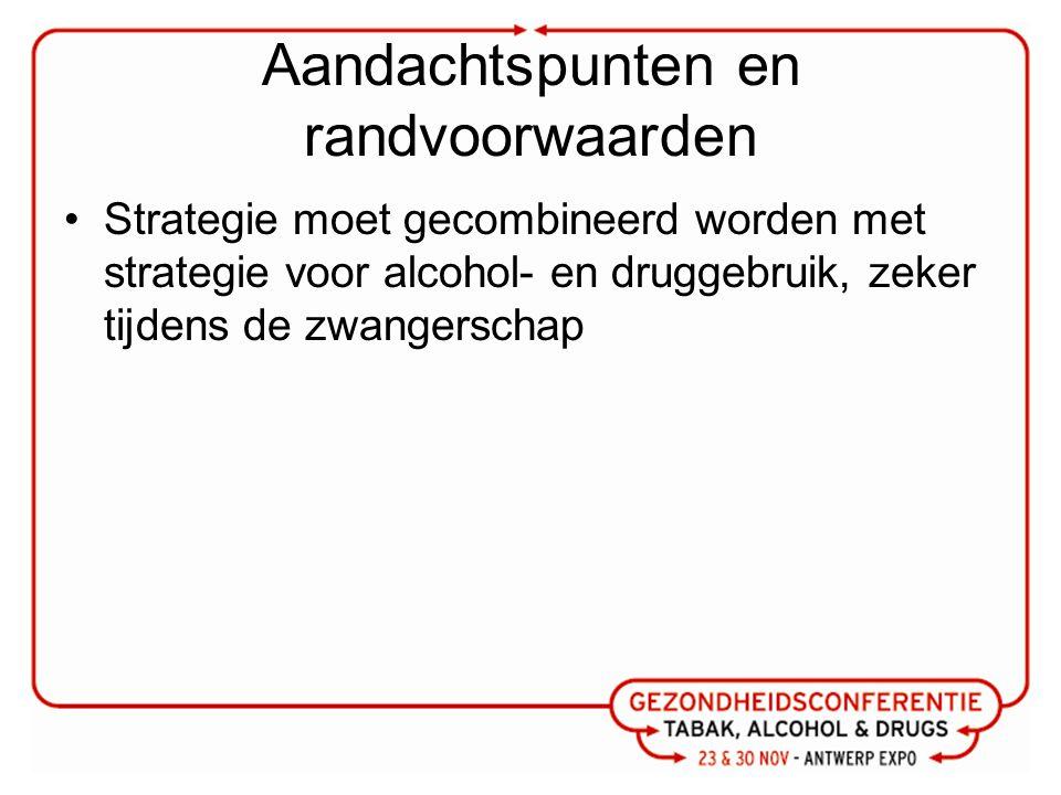 Aandachtspunten en randvoorwaarden Strategie moet gecombineerd worden met strategie voor alcohol- en druggebruik, zeker tijdens de zwangerschap