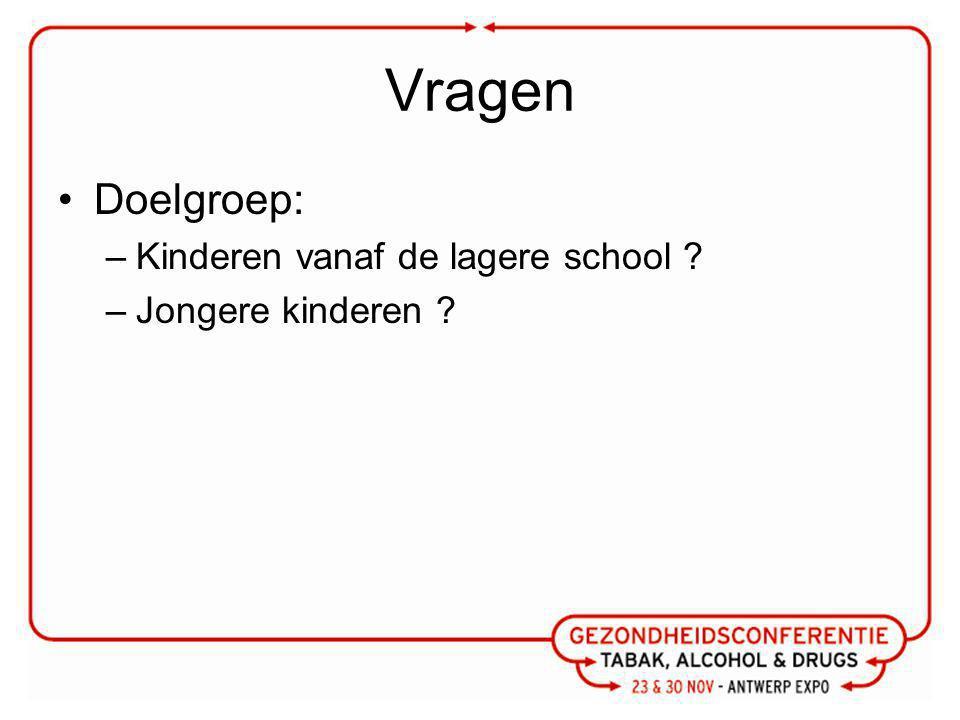Vragen Doelgroep: –Kinderen vanaf de lagere school ? –Jongere kinderen ?