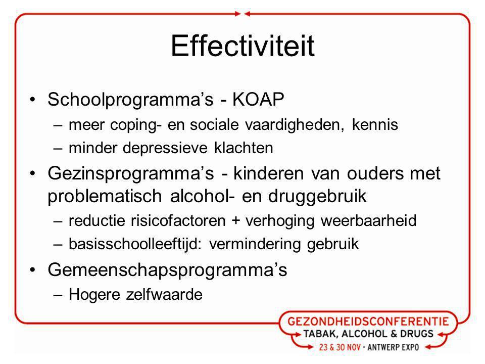 Effectiviteit Schoolprogramma's - KOAP –meer coping- en sociale vaardigheden, kennis –minder depressieve klachten Gezinsprogramma's - kinderen van ouders met problematisch alcohol- en druggebruik –reductie risicofactoren + verhoging weerbaarheid –basisschoolleeftijd: vermindering gebruik Gemeenschapsprogramma's –Hogere zelfwaarde