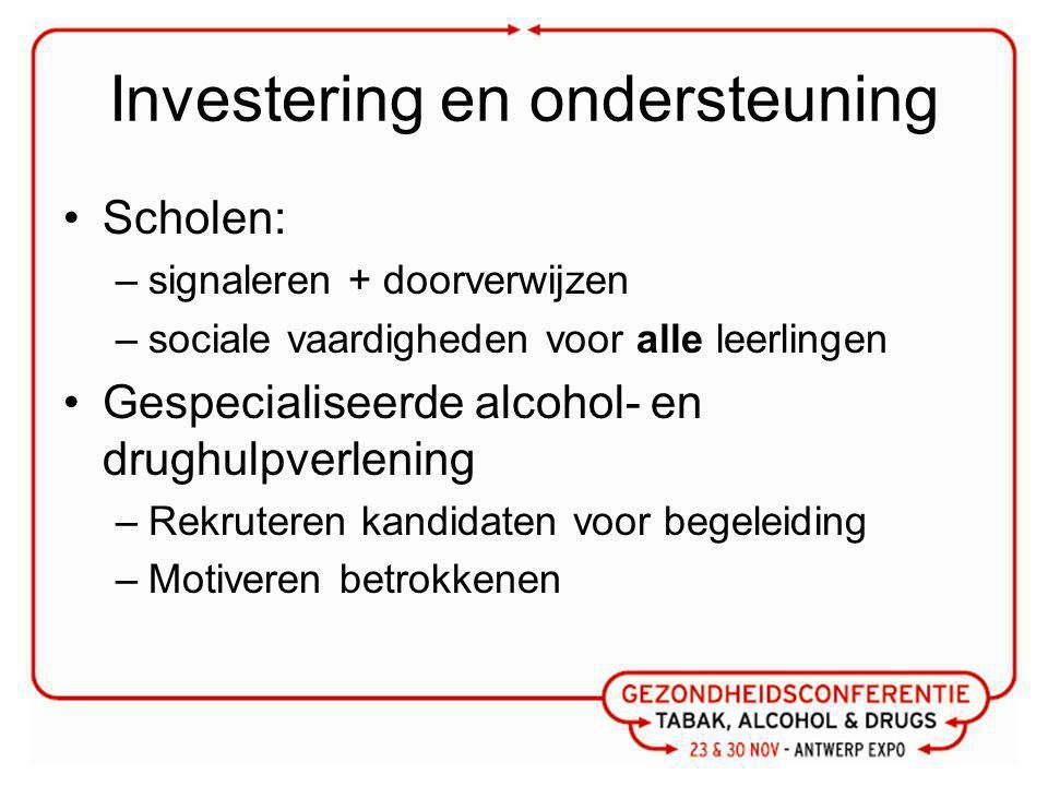 Investering en ondersteuning Scholen: –signaleren + doorverwijzen –sociale vaardigheden voor alle leerlingen Gespecialiseerde alcohol- en drughulpverlening –Rekruteren kandidaten voor begeleiding –Motiveren betrokkenen