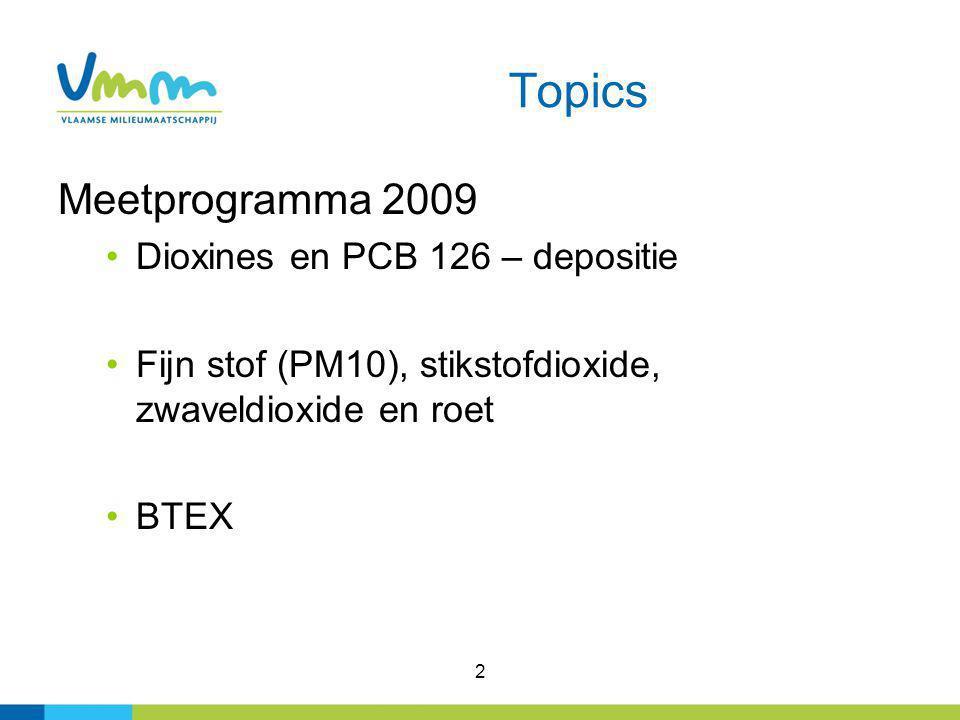 2 Topics Meetprogramma 2009 Dioxines en PCB 126 – depositie Fijn stof (PM10), stikstofdioxide, zwaveldioxide en roet BTEX