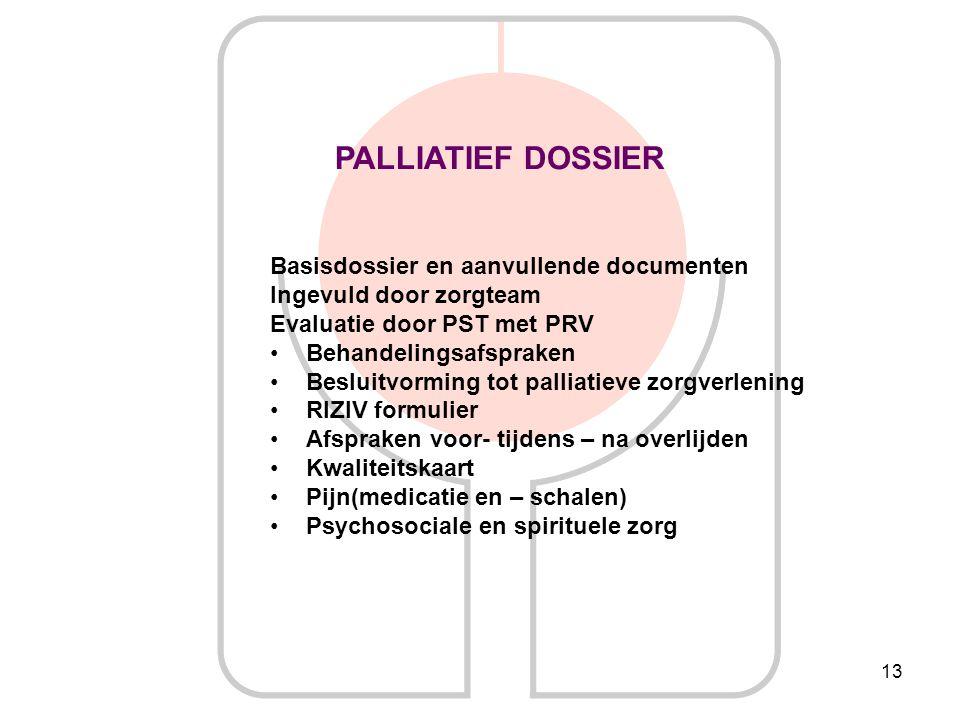 13 PALLIATIEF DOSSIER Basisdossier en aanvullende documenten Ingevuld door zorgteam Evaluatie door PST met PRV Behandelingsafspraken Besluitvorming to