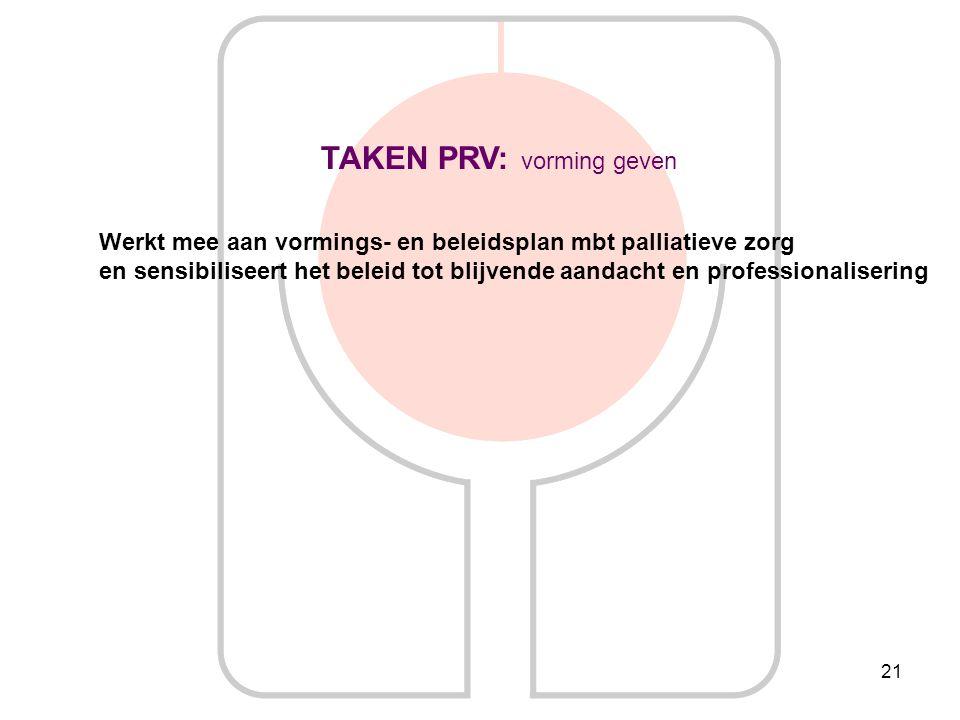 21 TAKEN PRV: vorming geven Werkt mee aan vormings- en beleidsplan mbt palliatieve zorg en sensibiliseert het beleid tot blijvende aandacht en profess