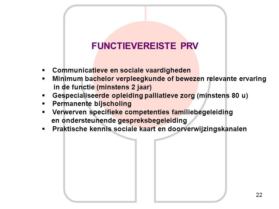 22 FUNCTIEVEREISTE PRV  Communicatieve en sociale vaardigheden  Minimum bachelor verpleegkunde of bewezen relevante ervaring in de functie (minstens
