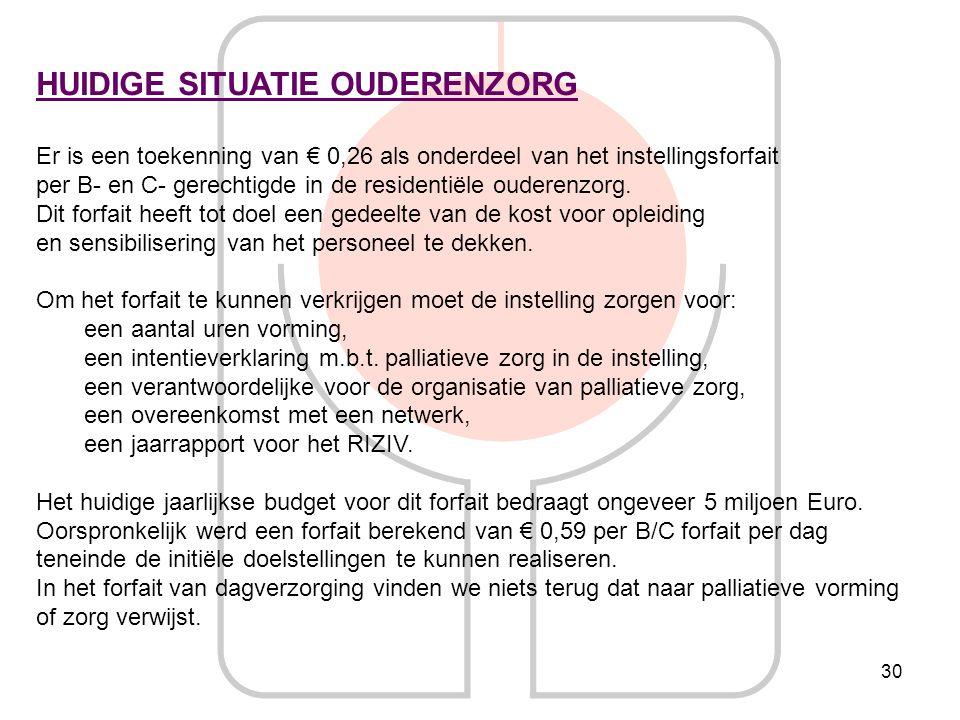 30 HUIDIGE SITUATIE OUDERENZORG Er is een toekenning van € 0,26 als onderdeel van het instellingsforfait per B- en C- gerechtigde in de residentiële o
