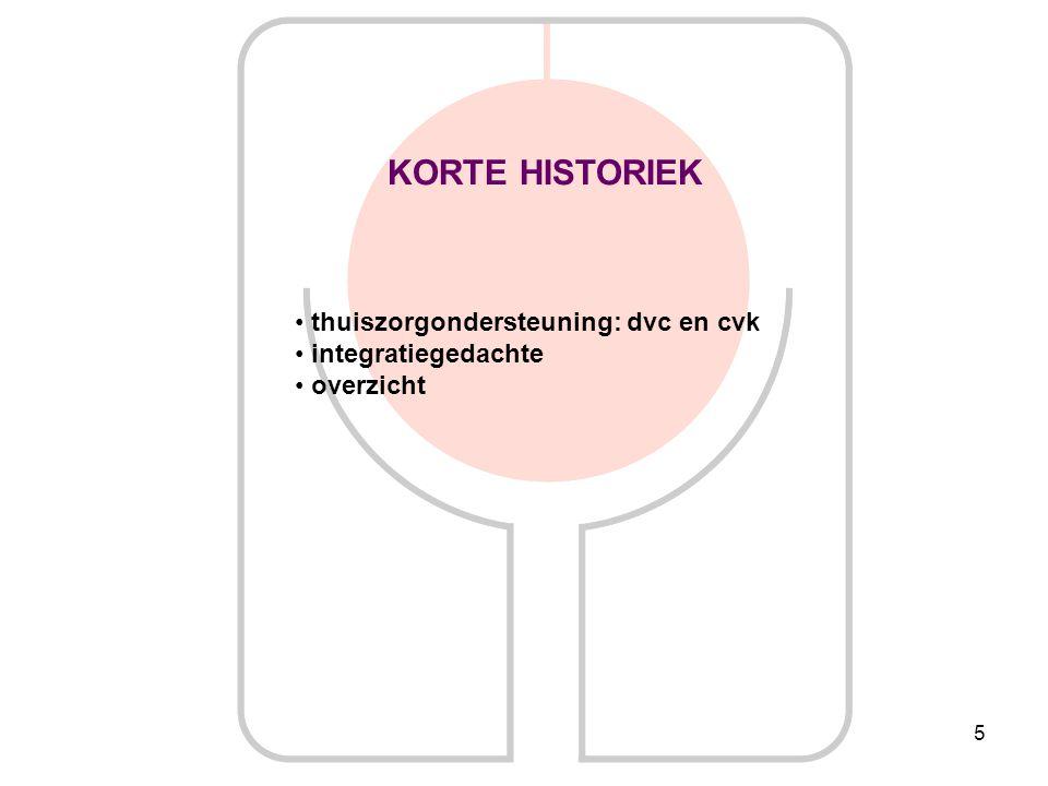5 KORTE HISTORIEK thuiszorgondersteuning: dvc en cvk integratiegedachte overzicht