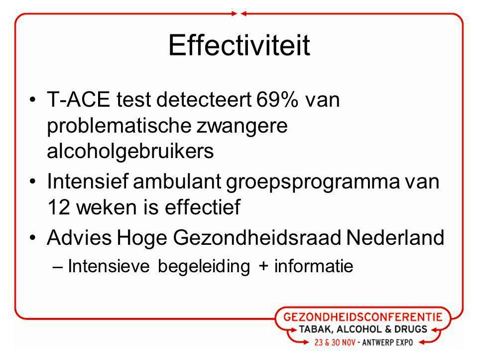 Effectiviteit T-ACE test detecteert 69% van problematische zwangere alcoholgebruikers Intensief ambulant groepsprogramma van 12 weken is effectief Advies Hoge Gezondheidsraad Nederland –Intensieve begeleiding + informatie